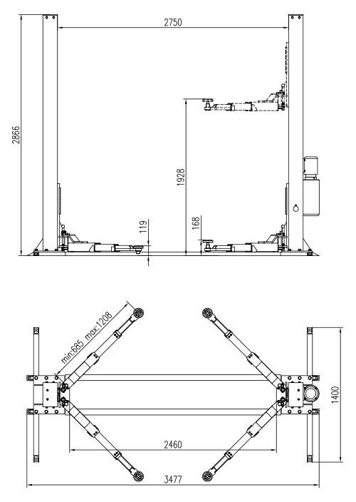 2 Post Subframe Hoist Dimensions