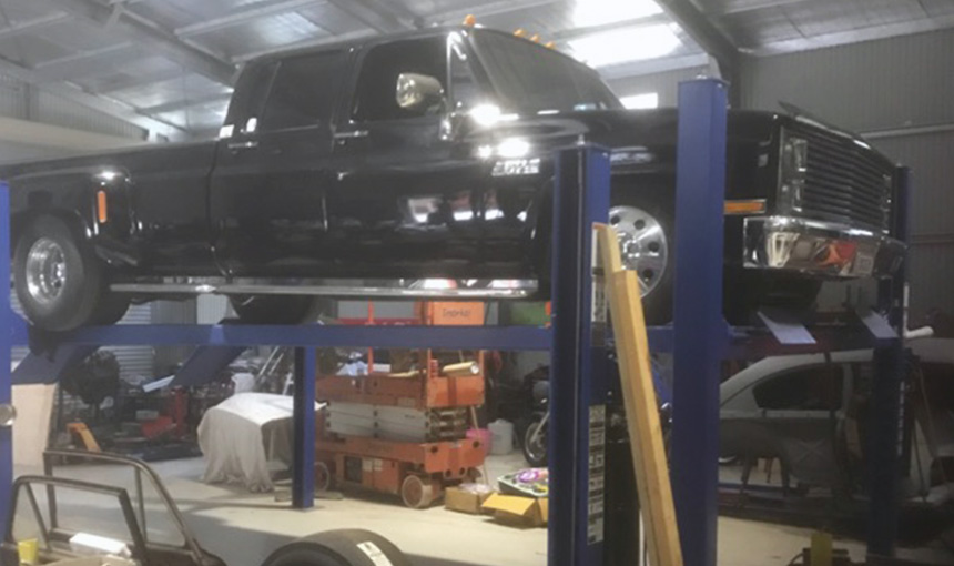 Holy Dually! Joel's 4 Post Hoists Are Built Tough.
